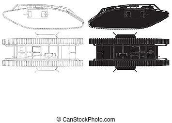Tank From World War I Vector