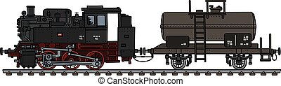 tank, fuhrwerk, altes , dampflokomotive