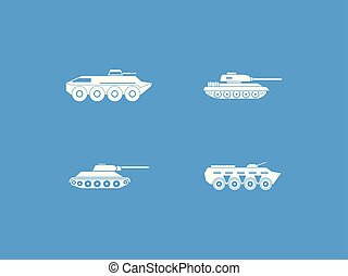 Tank icon blue set vector