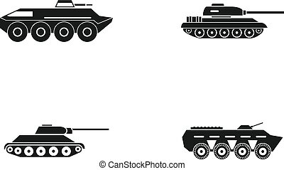 Tank icon set, simple style - Tank icon set. Simple set of...