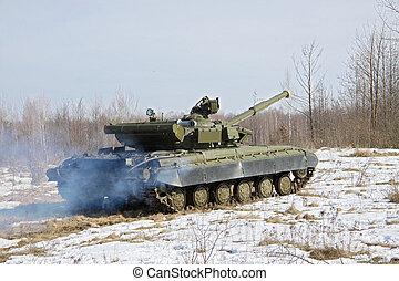 Tank in combat