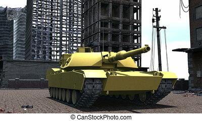 tank on the battlefield