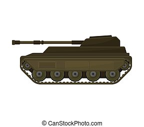 Tank on the tracks. Vector illustration on a white background.