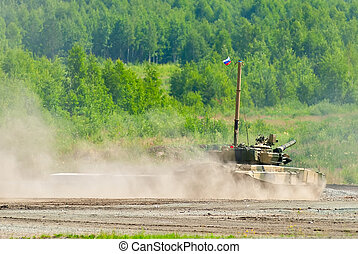 Tank platoon in action. Russia - Nizhniy Tagil, Russia -...