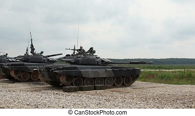 tank  shoot during the military training exercise