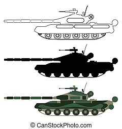 Tank silhouette, cartoon, outline. Military equipment set icon. Vector illustration