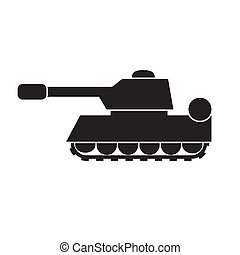 Tank silhouette icon on a white isolated background. Vector image.