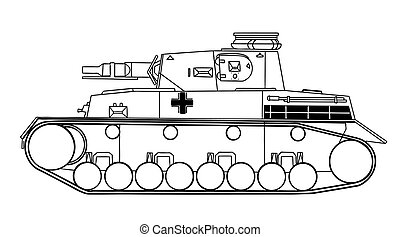 tank silhouette on white background, vector illustration