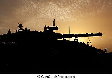 tank, silhuet, hos, solnedgang