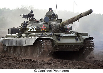 Tank - T - 55, russian tank in action