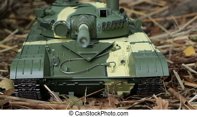 tank T-72 front view camera in motion close to
