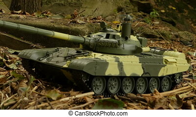 tank T-72 in combat position camera in motion