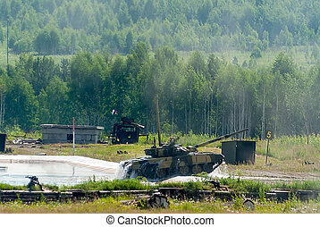 Tank T-80 after water obstacle