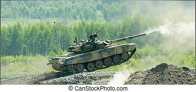 Tank T-80 shooting