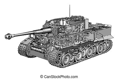 Tank Tiger - Detailed vector illustration of German tank...