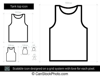Tank top line icon. - Tank top vector line icon isolated on ...