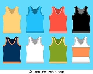 Tank Top set simple icons. Yellow, red, blue, white pullovers isolated on blue background. Flat design Vector Illustration