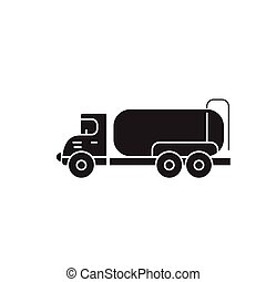 Tank truck black vector concept icon. Tank truck flat illustration, sign