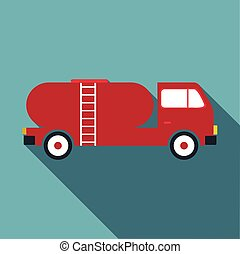 Tank truck icon, flat style - Tank truck icon. Flat...