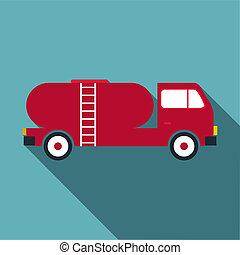 Tank truck icon, flat style