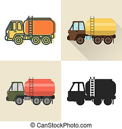 Tank truck icon set in flat and line styles