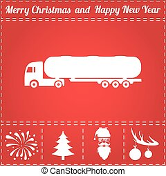 Tank truck Icon Vector. And bonus symbol for New Year -...