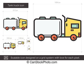 Tank truck line icon. - Tank truck vector line icon isolated...