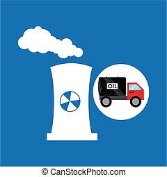 tank truck oil nuclear tower vector illustration eps 10