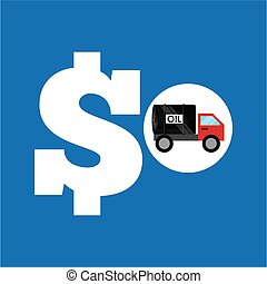 tank truck oil price money vector illustration eps 10