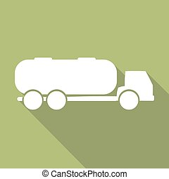 Tank truck with long shadow