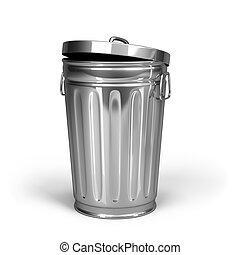 Tank waste - Steel trash can with lid. 3d image. White...