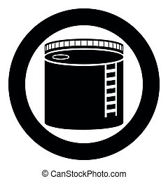 Tank with oil Oil storage tank Heating oil icon black color vector in circle round illustration flat style image