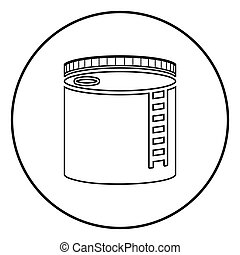 Tank with oil Oil storage tank Heating oil icon outline black color vector in circle round illustration flat style image
