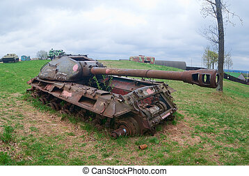 Tank wreck - Abandoned military tank wreck