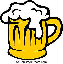tankard, bier, spotprent, frothy