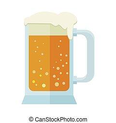tankard., birra, isolato, boccale vetro, white., o