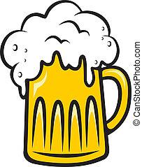 tankard, birra, traboccante, schiumoso
