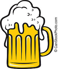 tankard, cabeça grande, cerveja, espumoso
