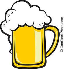 tankard, dorato, birra, schiumoso