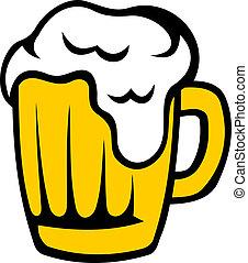 tankard, dourado, cabeça, cerveja, espumoso
