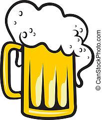 tankard, testa, birra, schiumoso
