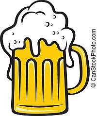 tankard, testa grande, birra, schiumoso