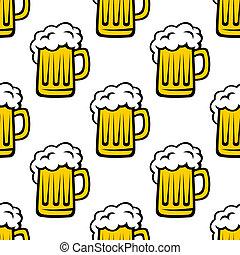 tankards, パターン, ビール, seamless, 泡だらけ