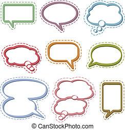 tanke, bubblar, anförande, &