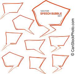 tanke, bubblar, anförande