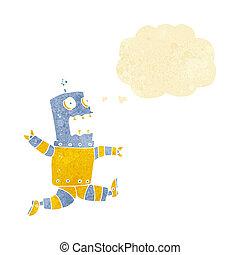 tanke, tecknad film, bubbla, robot, livrädd