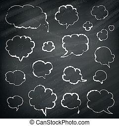 tanke, vektor, anförande, chalkboard, bakgrund, bubblar