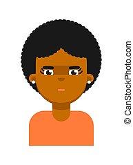 tankefulde, sort, avatar, facial, pige, udtryk