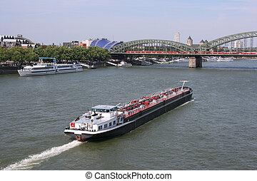 Cologne - Tanker barge on Rhine river, Cologne, Germany....