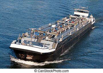 tanker barge - Tanker barge on the German Rhein river.